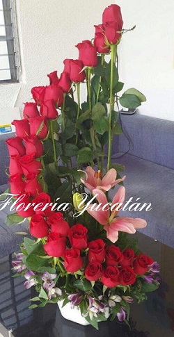 Florero Rosas Arreglo Rosas Floreria Yucatanfloreria